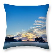 Abstract Early Morning Sunrise Over Farm Land Throw Pillow
