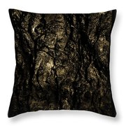 Abstract Gold And Black Texture Throw Pillow