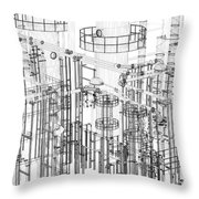 Abstract Industrial And Technology Background Throw Pillow