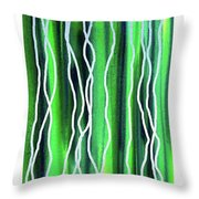Abstract Lines On Green Throw Pillow