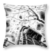 Abstract Modern Building And Tree Silhouette Pattern Design Throw Pillow