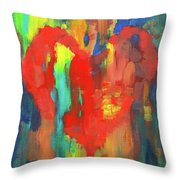 Abstract Red Heart Acrylic Painting Throw Pillow