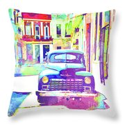 Abstract Watercolor - Havana Cuba Classic Car IIi Throw Pillow