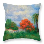Acacias And Red Roofs Throw Pillow