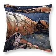 Acadia Rocks Throw Pillow by Donald Maier