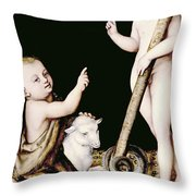 Adoration Of The Child Jesus By St John The Baptist Throw Pillow