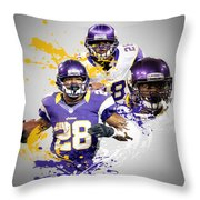Adrian Peterson Vikings Throw Pillow by Joe Hamilton