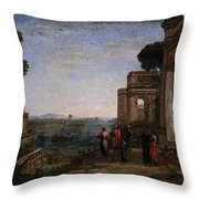 Aeneas Farewell To Dido In Carthago  Throw Pillow