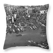 Aerial View Of Lower Manhattan Throw Pillow