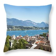 Aerial View Of Lucerne In Switzerland.  Throw Pillow