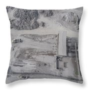 Aerial View Of Open Pit Sand Quarries.  View From Above.  Throw Pillow