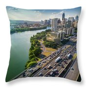 Aerial View Of The Austin Skyline As Rush Hour Traffic Picks Up On I-35 Throw Pillow