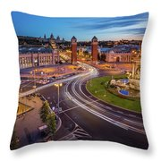 Aerial View On Placa Espanya And Montjuic Hill With National Art Throw Pillow