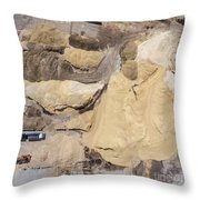Aerial View Over The Sandpit. Industrial Place In Poland. Throw Pillow