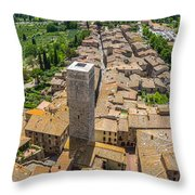 Aerial Wide-angle View Of The Historic Town Of San Gimignano Wit Throw Pillow