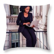 African American Businesswoman Working In New York Throw Pillow