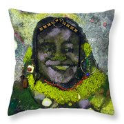 African Bead Painting Throw Pillow