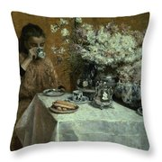 Afternoon Tea Throw Pillow by Isidor Verheyden