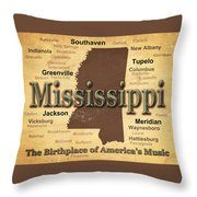 Aged Mississippi State Pride Map Silhouette  Throw Pillow