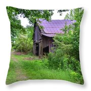 Aging Barn In Woods Series Throw Pillow