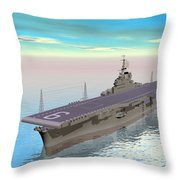 Aircraft Carrier - 3d Render Throw Pillow