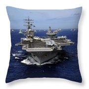 Aircraft Carrier Uss Ronald Reagan Throw Pillow