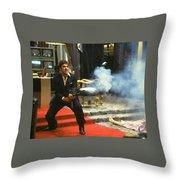 Al Pacino As Tony Montana With Machine Gun Blasting His Fellow Bad Guys Scarface 1983 Throw Pillow