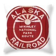 Alaska Railroad Aged Throw Pillow