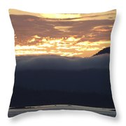 Alaskan Coast Sunset, View Towards Kosciusko Or Prince Of Wales  Throw Pillow