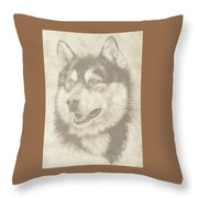 Alaskan Malamute And Pup Throw Pillow