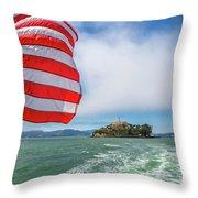 Alcatraz Island With American Flag Throw Pillow