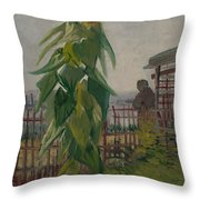 Allotment With Sunflower Paris, July 1887 Vincent Van Gogh 1853 - 1890 Throw Pillow