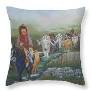 Along The Bozeman Trail Throw Pillow