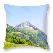 Alpine Mountain Peak Landscape. Throw Pillow