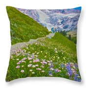 Alta Vista Trail In  Mount Rainier National Park, Washington  Throw Pillow