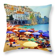 Amalfi Beach Throw Pillow