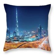 Amazing Night Dubai Downtown Skyline, Dubai, United Arab Emirates Throw Pillow