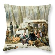 American Forest Scene Maple Sugaring Throw Pillow