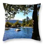 American River Through The Trees Throw Pillow