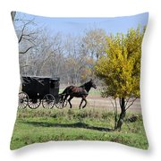 Amish Buggy Late Fall Throw Pillow