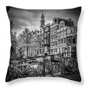 Amsterdam Flower Canal Black And White Throw Pillow