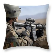 An Afghan Commando Scans The Horizon Throw Pillow