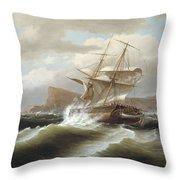 An American Ship In Distress Throw Pillow
