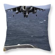 An Av-8b Harrier II Prepares To Land Throw Pillow