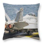 An Fa-18f Super Hornet Taking Off Throw Pillow