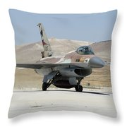 An Israeli Air Force F-16a Netz Taxiing Throw Pillow