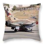 An Israeli Air Force F-16b Netz Taxiing Throw Pillow