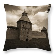 Ancient Walls. Sepia Throw Pillow