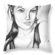 Angelina Jolie Portrait Throw Pillow