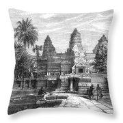 Angkor Wat, Cambodia, 1868 Throw Pillow